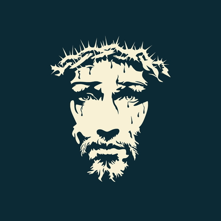Face of Christ hand drawn Stock Illustratie