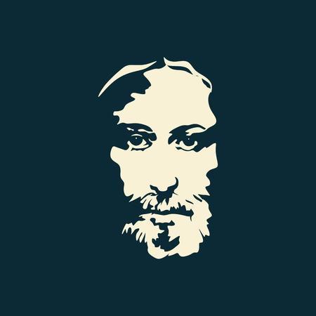 cruz de jesus: Rostro de Cristo dibujado a mano Vectores