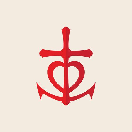 hopes: Cross, anchor, heart, red, icon