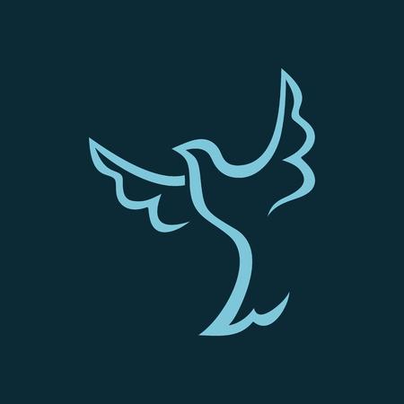 religion catolica: Dibujo lineal de la paloma Vectores
