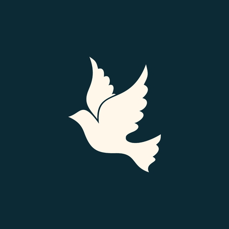 espiritu santo: Icono de la paloma. Dibujo lineal de la paloma, el espíritu Santo