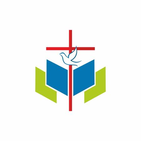 Kruis, duif, bijbel, opdrachten, pictogram
