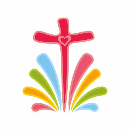 Rainbow and cross