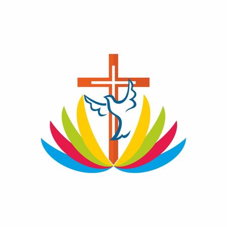 Cross, dove, Bible, missions, icon, rainbow