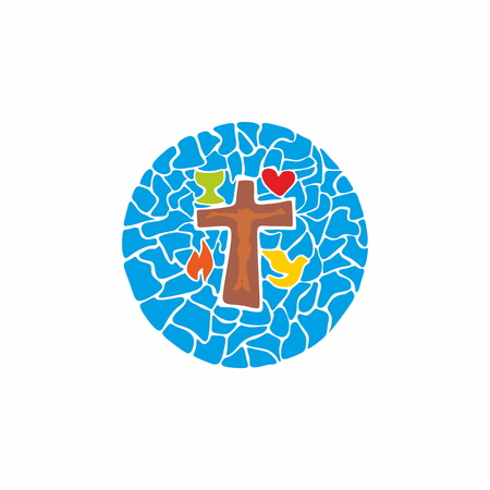 Jesus on the cross, chalice, flames, dove, badge, mosaic, heart, crucifixion