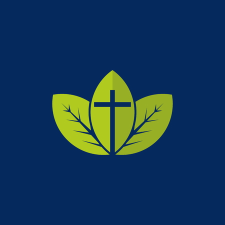 Spiritual growth. Christian cross on a background of green leaves