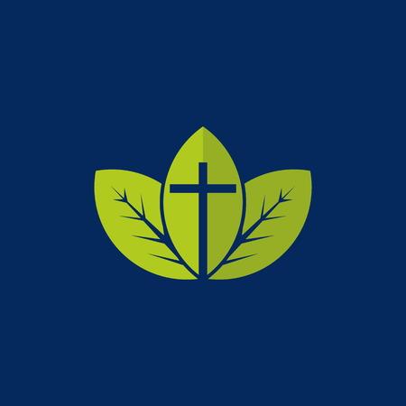 the church: Crecimiento espiritual. Cruz cristiana en un fondo de hojas verdes Vectores
