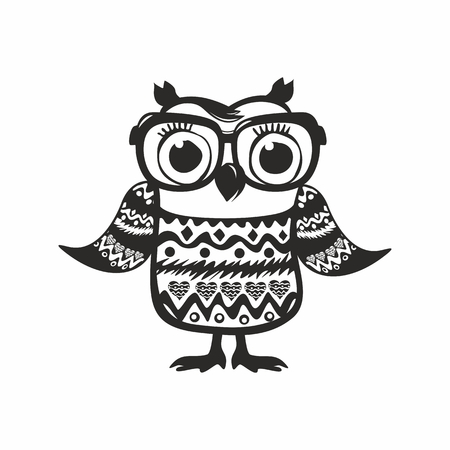Cute owl with glasses and a sweater