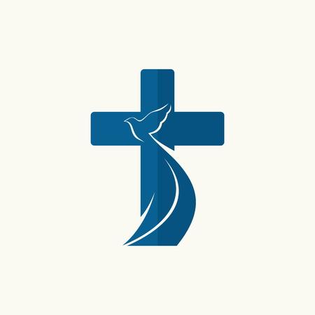cruz religiosa: Logo Iglesia. Cruz y paloma, símbolo del Espíritu Santo