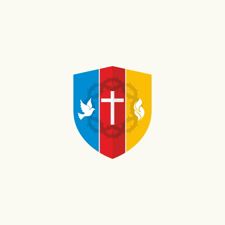 Church logo. The cross, a dove and flames Illustration