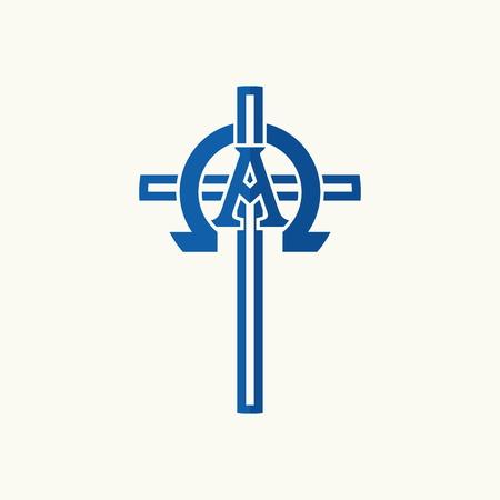 Church logo. Alpha, omega and a cross Ilustração