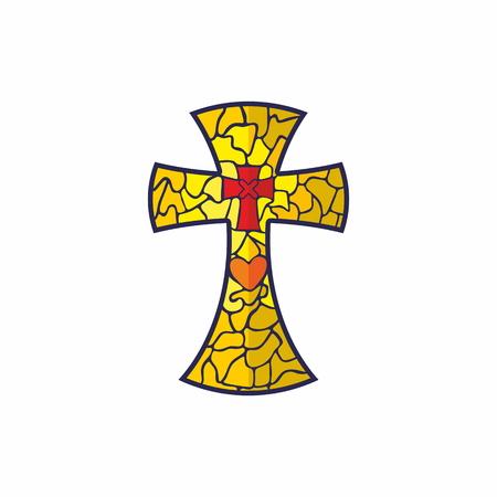 evangelism: Cross the mosaic heart on it