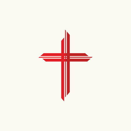 Church logo. Red cross Vectores