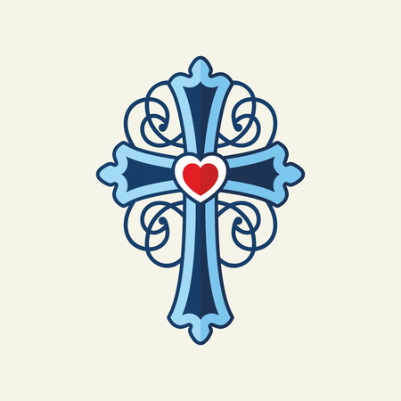 religious icon: Cross with heart entwined with patterns Illustration