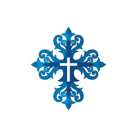 entwined: White cross entwined with blue patterns Illustration