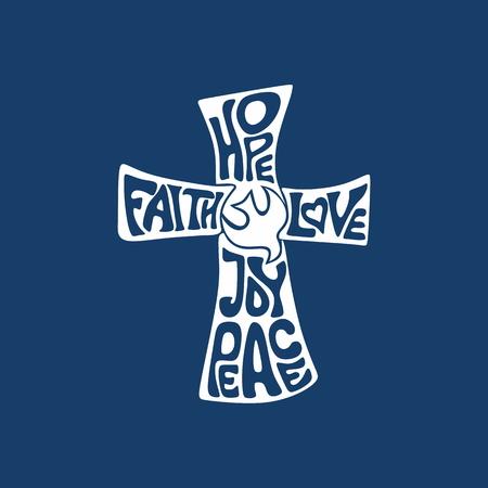 Kreuz. Glaube, Hoffnung, Liebe, Freude und Frieden Standard-Bild - 47998771