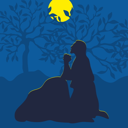 Illustration of Jesus praying in Gethsemane on the eve of the crucifixion