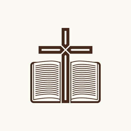 open bible: Logo of the church. The Cross and the open Bible.