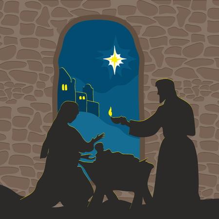religion catolica: Tarjeta de felicitación con un cuento de Navidad. María y José con el niño Jesús en Belén.