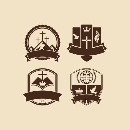 iglesia: Conjunto de insignias de la vendimia de la iglesia cristiana Vectores