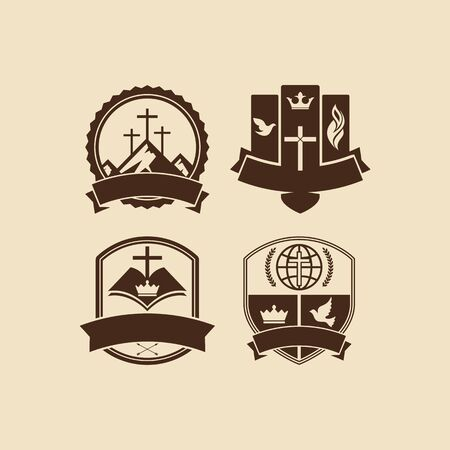church: Set of vintage logos Christian church