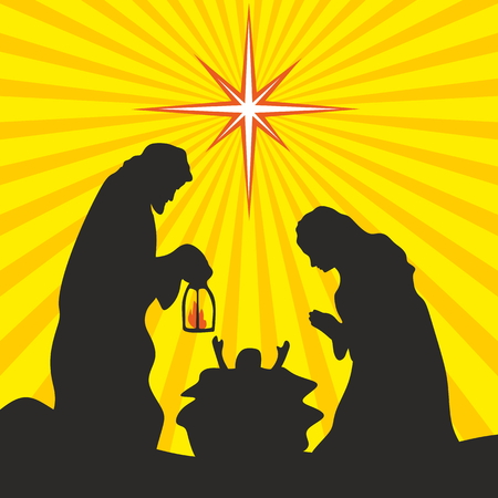 christmas story: Greeting card with a Christmas story. Mary and Joseph with the baby Jesus in Bethlehem.