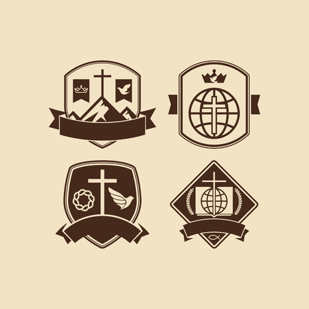 evangelism: Set of vintage logos Christian church
