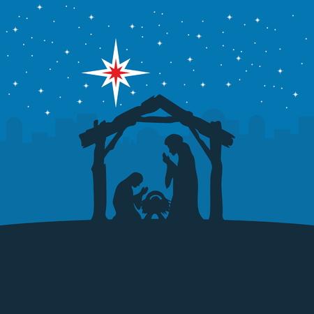 jezus: Kartkę z życzeniami z historią Bożego Narodzenia. Maryja i Józef z Dzieciątkiem Jezus w Betlejem.