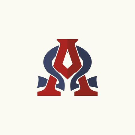 crucifixion: Church logo. Intertwined letters Alpha and Omega