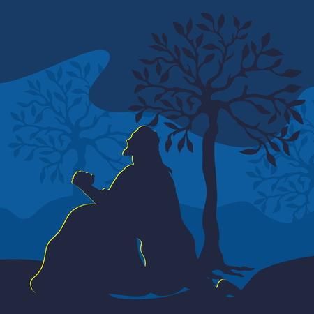 Illustratie van Jezus bidden in Gethsemane aan de vooravond van de kruisiging