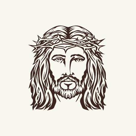 jesus face: Face of Jesus hand drawn
