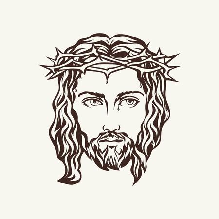 kruzifix: Antlitz Jesu Hand gezeichnet