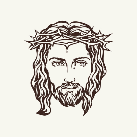 cruz de jesus: Rostro de Jesús dibujado a mano