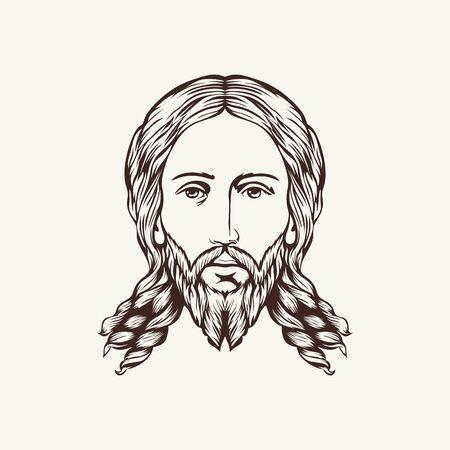 evangelism: Face of Jesus hand drawn