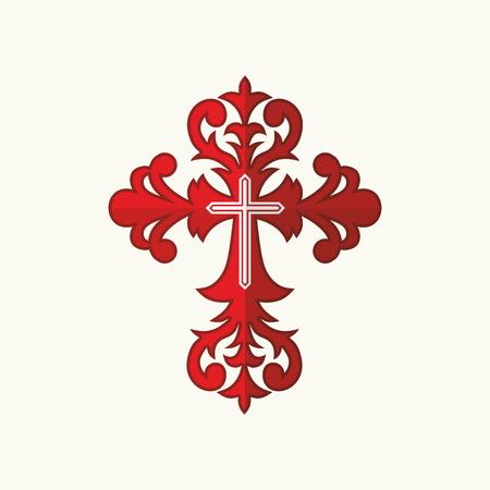 cruz roja: Cruz Roja con el ornamento Vectores