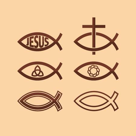 jesus fish: Set of Jesus fish Illustration
