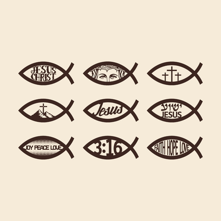 jesus in heaven: Big set of Jesus fish Illustration