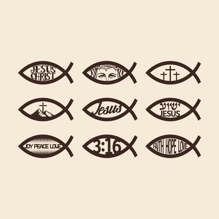 jezus: Duży zestaw Jezusa ryb
