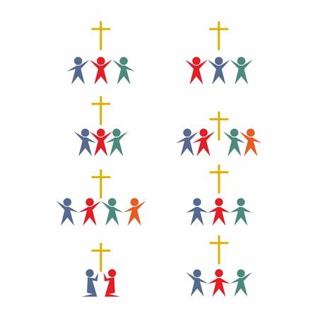 worship god: Groups of people. Worship God. Illustration