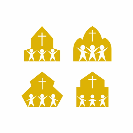 worship god: People in the church. Worship God. Illustration