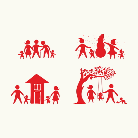 old person: Family icons set. People. Illustration