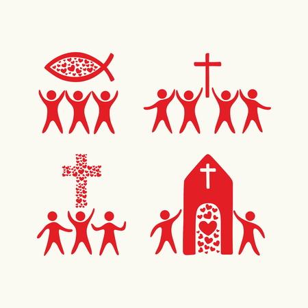 worship god: Christian family. Worship God. Religious rites.