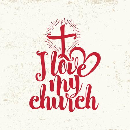 religion catolica: Amo a mi iglesia. Letras. Vectores