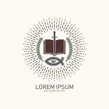 open bible: Church logo. Jesus fish, open bible, sword