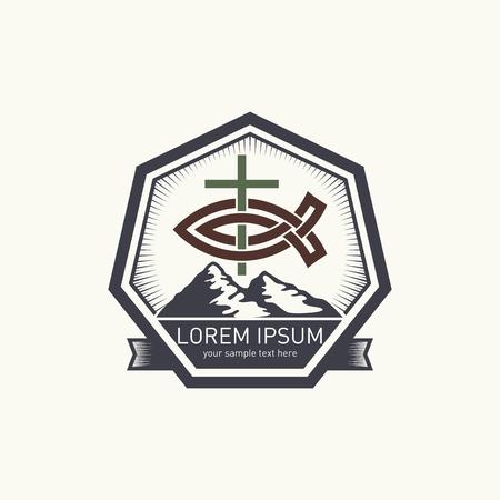 pez cristiano: logotipo de la iglesia. Montañas, cruz y pescados cristianos