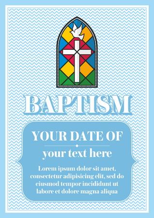 bautismo: El bautismo cristiano Postal. Invitaci�n, felicitaci�n, certificado. Vectores