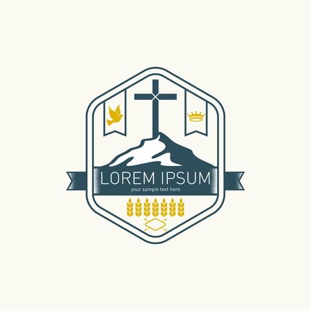 church worship: Church logo. Mountain, cross, dove and crown