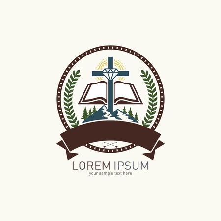 open bible: Church logo. Mountain, cross, diamond and open bible