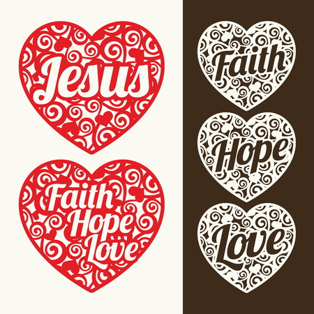 jesus: Hearts and words. Jesus, hope, faith and love