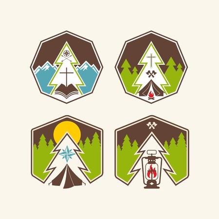 evangelism: Set of christian camp labels  Illustration